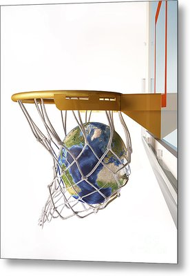 3d Rendering Of Planet Earth Falling Metal Print by Leonello Calvetti