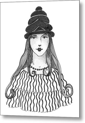 A Person Modeling A Historical Costume Metal Print by Claire Avery
