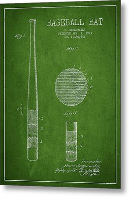 Baseball Bat Patent Drawing From 1923 Metal Print by Aged Pixel