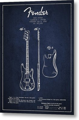 Bass Guitar Patent Drawing From 1960 Metal Print by Aged Pixel