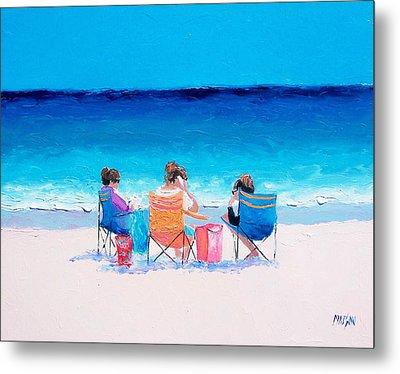 Beach Painting 'girl Friends' By Jan Matson Metal Print