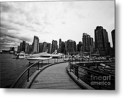 coal harbour marina and high rise apartment condo blocks in the west end Vancouver BC Canada Metal Print by Joe Fox