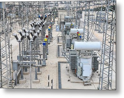 Electricity Transformation Substation Metal Print by Photostock-israel