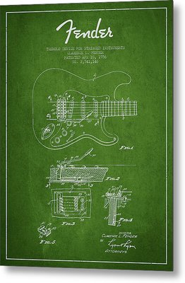 Fender Tremolo Device Patent Drawing From 1956 Metal Print by Aged Pixel