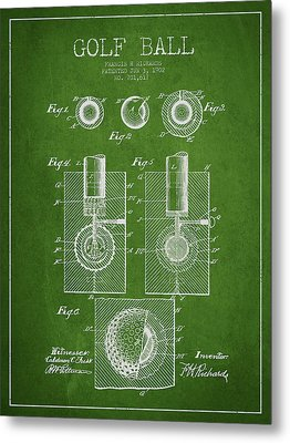 Golf Ball Patent Drawing From 1902 Metal Print by Aged Pixel