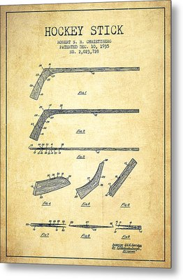 Hockey Stick Patent Drawing From 1935 Metal Print by Aged Pixel