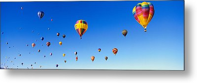 Hot Air Balloons Floating In Sky Metal Print by Panoramic Images