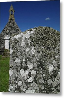 Lichen On Gravestone In Unpolluted Air Metal Print by Cordelia Molloy