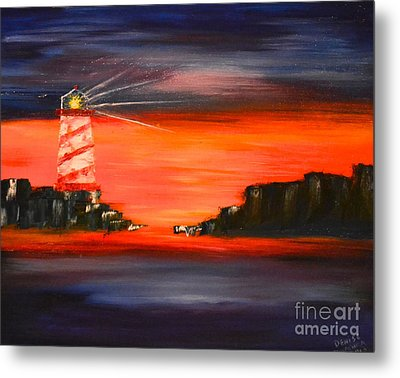 Lighthouse Bay Metal Print by Denise Tomasura