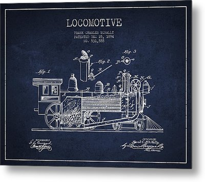 ocomotive Patent drawing from 1894 Metal Print by Aged Pixel