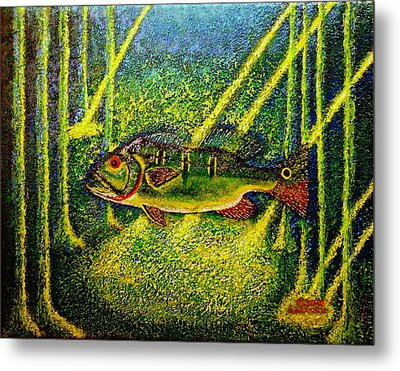 Metal Print featuring the painting Peacock Bass.sculpture. by Viktor Lazarev