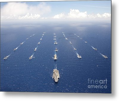 Ships And Submarines Participating Metal Print by Stocktrek Images