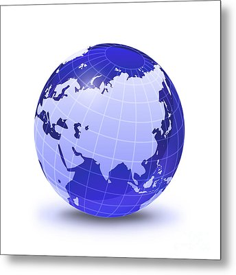 Stylized Earth Globe With Grid, Showing Metal Print