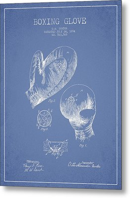 Vintage Boxing Glove Patent Drawing From 1894 Metal Print