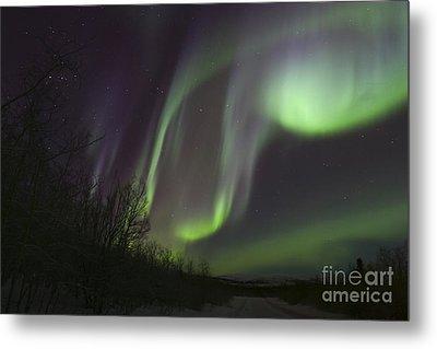 Aurora Borealis By Fish Lake Metal Print by Joseph Bradley