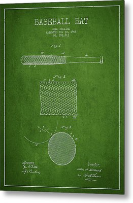 Baseball Bat Patent Drawing From 1904 Metal Print by Aged Pixel