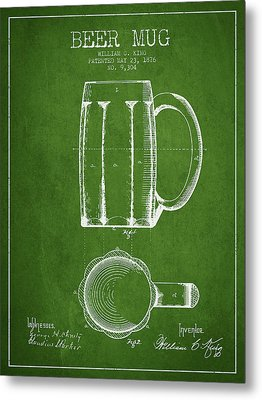 Beer Mug Patent From 1876 - Green Metal Print by Aged Pixel
