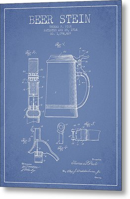 Beer Stein Patent From 1914 - Light Blue Metal Print by Aged Pixel