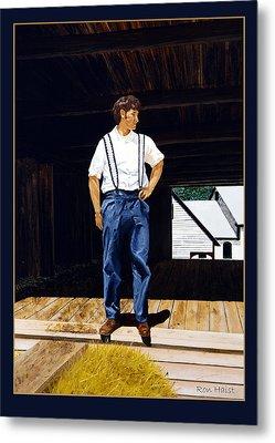 Boy In The Barn Metal Print by Ron Haist