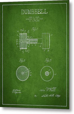 Dumbbell Patent Drawing From 1935 Metal Print