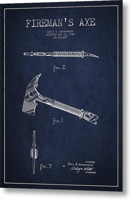 Fireman Axe Patent Drawing From 1940 Metal Print by Aged Pixel