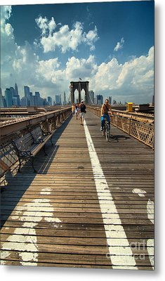 Lanes For Pedestrian And Bicycle Traffic On The Brooklyn Bridge Metal Print by Amy Cicconi