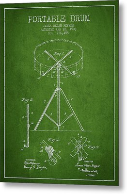 Portable Drum Patent Drawing From 1903 - Green Metal Print