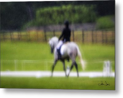 Metal Print featuring the photograph Rainy Day Dressage by Joan Davis