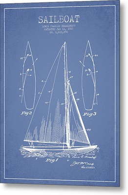 Sailboat Patent Drawing From 1927 Metal Print by Aged Pixel