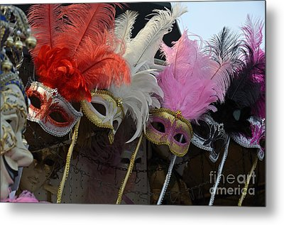 Traditional Venetian Masks With Feathers  Metal Print by Sami Sarkis