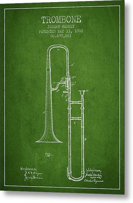 Trombone Patent From 1902 - Green Metal Print by Aged Pixel