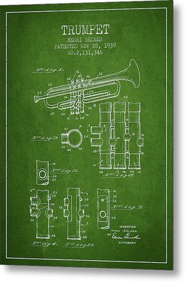 Trumpet Patent From 1939 - Green Metal Print