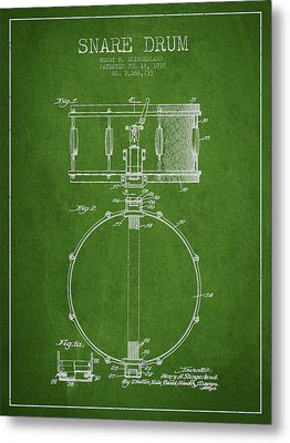 Snare Drum Patent Drawing From 1939 - Green Metal Print by Aged Pixel