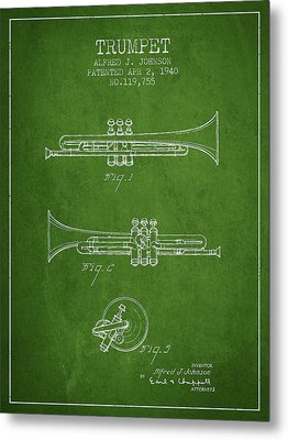 Vintage Trumpet Patent From 1940 - Green Metal Print