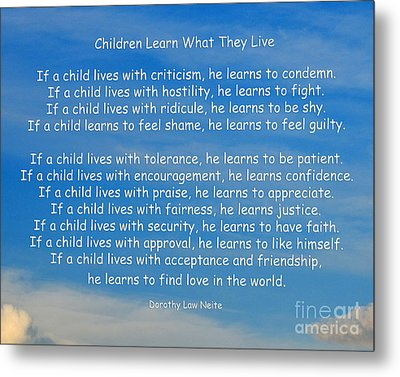 33- Children Learn What They Live Metal Print by Joseph Keane