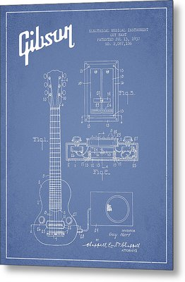 Hart Gibson Electrical Musical Instrument Patent Drawing From 19 Metal Print by Aged Pixel