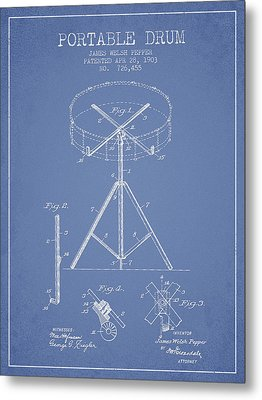 Portable Drum Patent Drawing From 1903 - Light Blue Metal Print