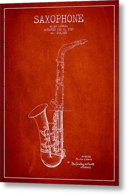 Saxophone Patent Drawing From 1937 - Red Metal Print