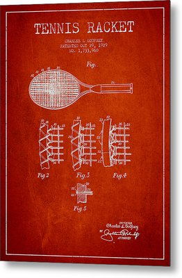 Tennnis Racket Patent Drawing From 1929 Metal Print by Aged Pixel