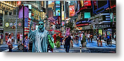 Times Square On A Tuesday Metal Print by Lee Dos Santos