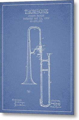 Trombone Patent From 1902 - Light Blue Metal Print by Aged Pixel