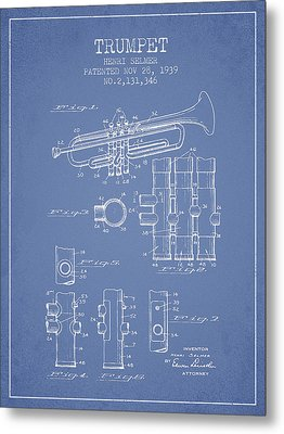 Trumpet Patent From 1939 - Light Blue Metal Print by Aged Pixel