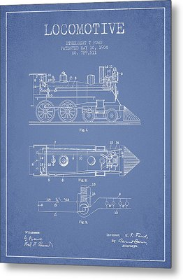 Vintage Locomotive Patent From 1904 Metal Print by Aged Pixel