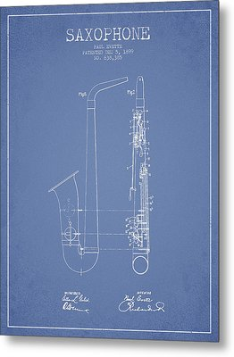 Saxophone Patent Drawing From 1899 - Light Blue Metal Print