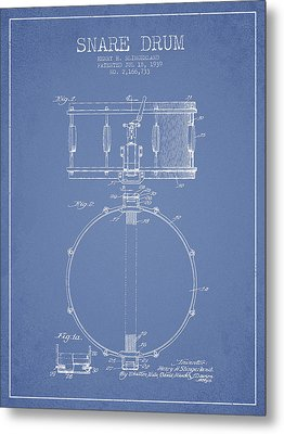 Snare Drum Patent Drawing From 1939 - Light Blue Metal Print by Aged Pixel