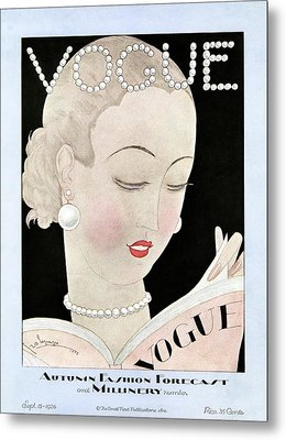 A Vintage Vogue Magazine Cover Of A Woman Metal Print