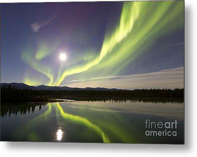 Aurora Borealis And Full Moon Metal Print by Joseph Bradley