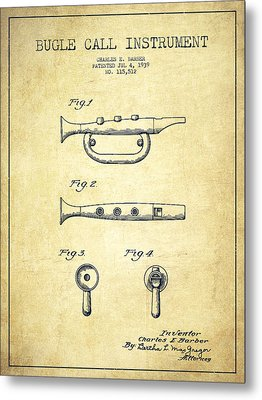 Bugle Call Instrument Patent Drawing From 1939 - Vintage Metal Print