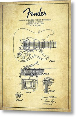 Fender Tremolo Device Patent Drawing From 1956 Metal Print