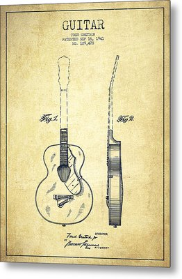 Gretsch Guitar Patent Drawing From 1941 - Vintage Metal Print